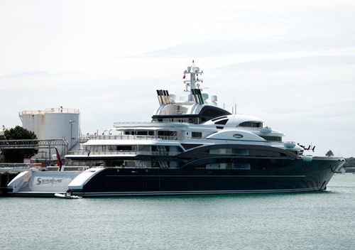 The 134m superyacht Serene berthed at Auckland's Wynyard Wharf in 2015.