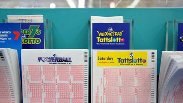 Lottery tickets for sale at a newsagency.