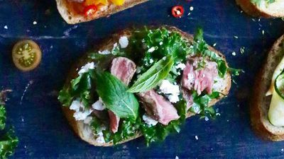 """Recipe:<a href=""""https://kitchen.nine.com.au/2016/09/19/13/17/open-steak-sandwich-with-feta-mint-kale"""" target=""""_top"""">&nbsp;Open steak sandwich with feta, mint and kale</a>"""