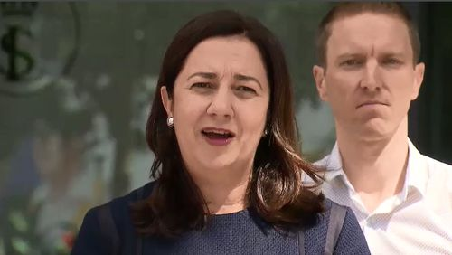 Queensland Premier Annastacia Palaszczuk also urged motorists to take extra precautions when driving during the wild weather and assured residents in the north that they will not be forgotten due to the Commonwealth Games. Picture: 9NEWS.