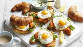 Egg and trout croissant recipe