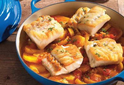 Baked cod on braised saffron