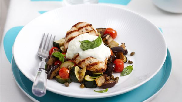 Ratatouille with char-grilled chicken