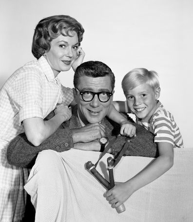 Dennis The Menace, a CBS television situation comedy. Gloria Henry (as Alice Mitchell), Herbert Anderson (as Henry Mitchell), Jay North (as Dennis Mitchell). May 2, 1960.