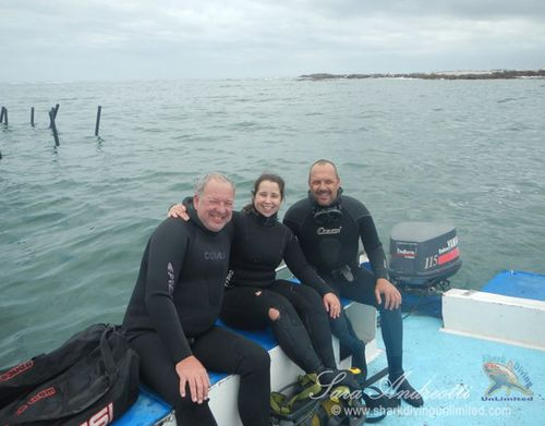 Sharksafe Barrier team members Jean-Pierre Botha (left), Sara Andreotti (centre) and Michael Rutzen (right) at a testing location in Shark Alley. (Photo courtesy of Sara Andreotti / Sharksafe Barrier)