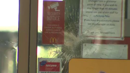 A McDonald's outlet was also targeted overnight. (9NEWS)