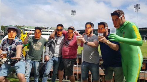 South African fans wore Sonny Bill Williams masks during the test series against Australia. (Supplied)