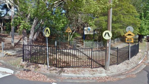 Outside Pennant Hills Public School, where the child was reported missing from.