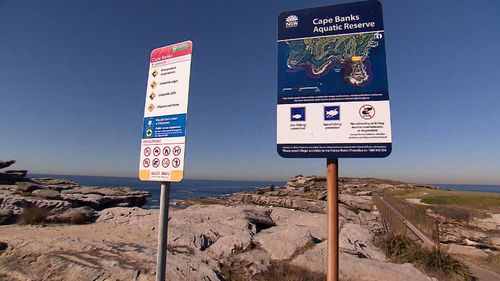 The area is notorious, and rock risherman are warned to be careful in the area. This fisherman was wearing a lifejacket. Picture: 9NEWS