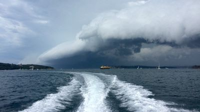 Niall Powers took this photo in Sydney Harbour during a sailing race at the Manly Skiff Club. (Supplied)