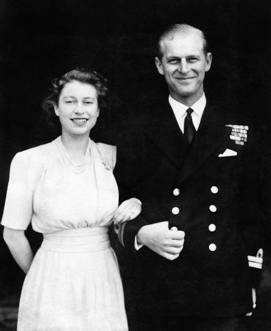 Prince Elizabeth and Philip pose for their first engagement pictures