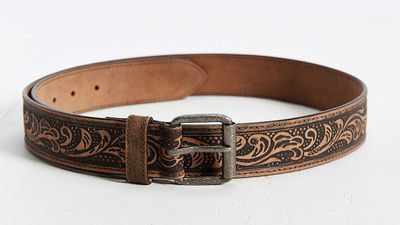 """<a href=""""http://www.urbanoutfitters.com/urban/catalog/productdetail.jsp?id=35715499&amp;category=MENS_ACCESSORIES """"> Floral Embossed Belt, $34, Urban Outfitters </a>"""