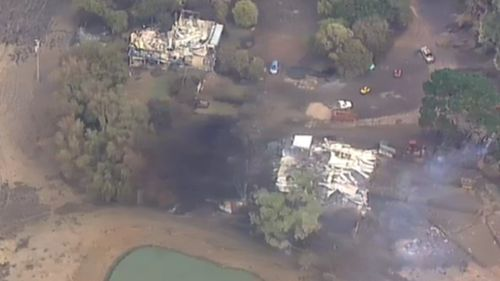 A pair of incinerated homes in Camperdown. (9NEWS)