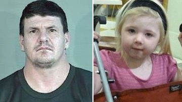 Daniel Holdom's mug shot (left) and Khandalyce Pearce (right), the two-year-old he murdered.