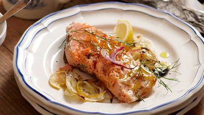 "Recipe: <a href=""http://kitchen.nine.com.au/2016/05/17/10/21/roasted-salmon-with-fennel-lemon"" target=""_top"">Roasted salmon with fennel &amp; lemon (45 minutes)</a>"