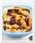 Chocolate and pear bread pudding