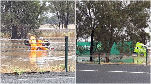 Sections of Victoria's Hume Highway are under flood water.