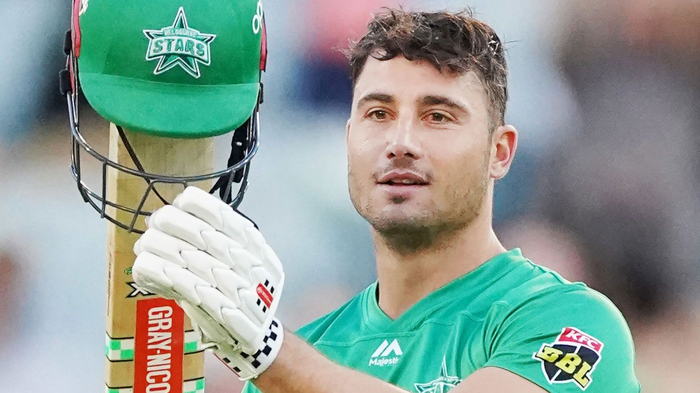 Marcus Stoinis of the Stars celebrates a century