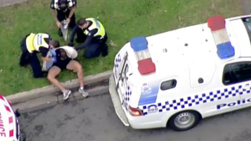 Two men were arrested shortly after the crash. (9NEWS)