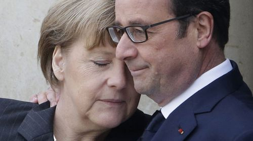 German Chancellor Angela Merkel and French President Francois Hollande. (AAP)