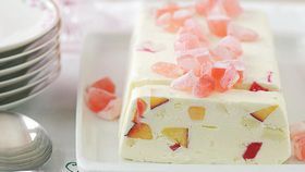 Frozen nectarine and Turkish delight parfait