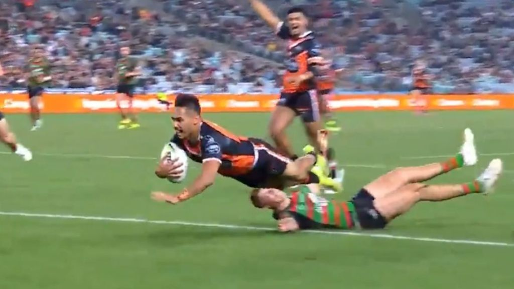 Latrell Mitchell facing potential four-week ban after ugly moments in win over Wests Tigers