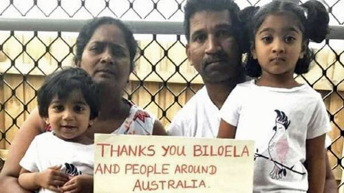 The Tamil family, mother, father and two children, were flown from Darwin to the detention centre northwest of Australia overnight.