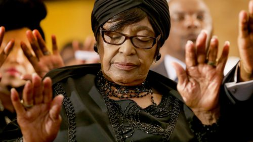 Winnie Madikizela-Mandela attends a service at Bryanston Methodist Church during a national day of prayer after the death of her ex-husband, former president Nelson Mandela. (Getty)