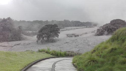 Volcanic ash blanketing La Reunion Golf Course in Antigua. (Rachael Dyer)