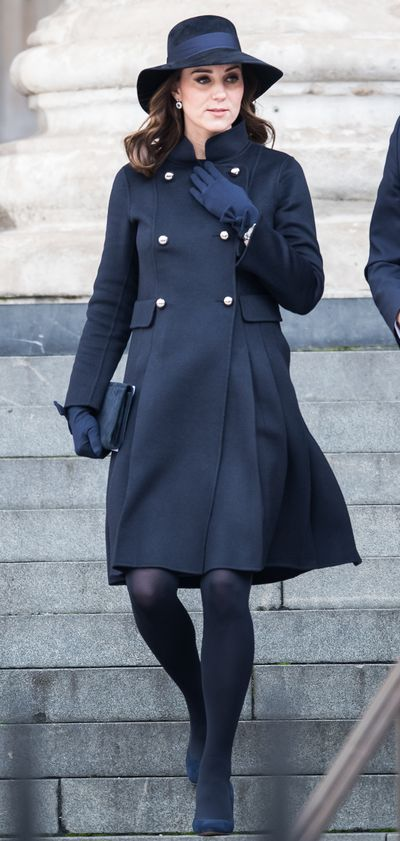 Duchess of Cambridge Kate Middleton wearing a  Carolina Herrera coat at the Grenfell Tower national memorial service held at St Paul's Cathedral on December 14, 2017