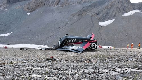 The plane went down on the Piz Segnas mountain on Saturday. Image: AP