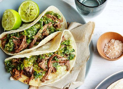 Brisket tortillas with green chilli, tomatillo and cucumber salsa
