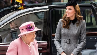 Queen Elizabeth II and Catherine, Duchess of Cambridge visit King's College London on March 19, 2019.