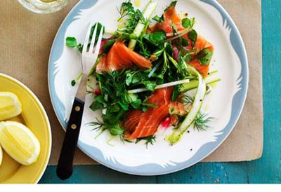 """<a href="""" /recipes/itrout/8301400/smoked-trout-asparagus-and-radish-salad """" target=""""_top"""">Smoked trout, asparagus and radish salad<br> </a>"""