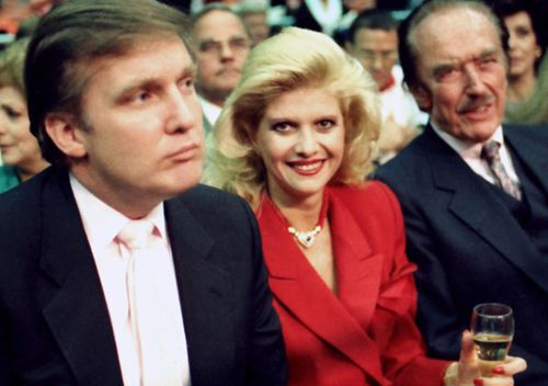 Donald Trump with first wife Ivana, and father Fred Trump at Atlantic City in 1988.
