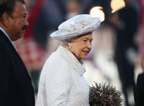 Queen Elizabeth II, Patron of the CGF smiles during the Opening Ceremony for the Glasgow 2014 Commonwealth Games. (Getty)