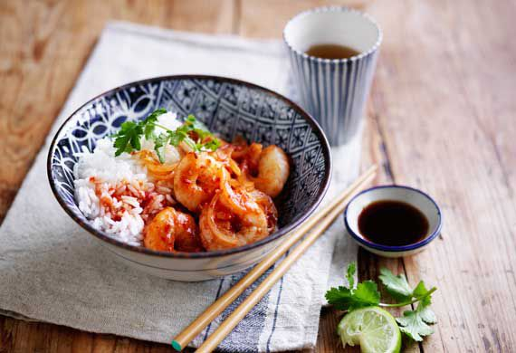 Poh's sweet, sour and spicy stir-fried prawns with rice