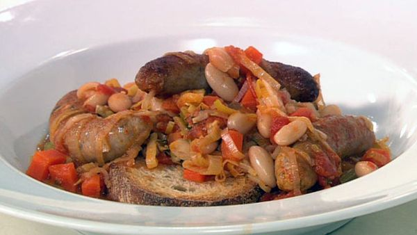 Smoky sausage and bean casserole