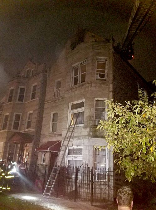 The house where eight people died in a fire in the Little Village suburb of Chicago.
