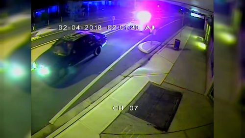 CCTV captured police trailing the blue Ford Falcoln. (NSW Police)