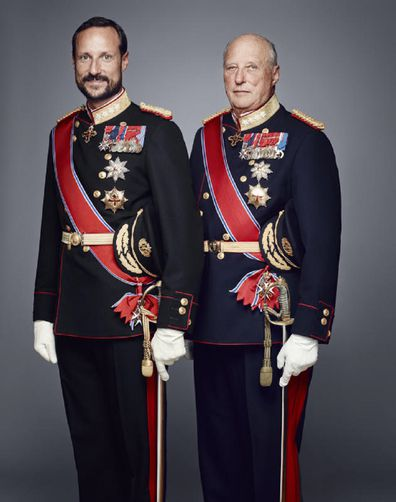 In this handout photo provided by the Royal Court, Crown Prince Haakon of Norway (L) and King Harald V of Norway pose for an official photograph from the Royal Court on January 15, 2016 in Oslo, Norway.