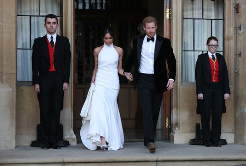 She also made a quick wardrobe change from her Givenchu wedding gown to a Stella McCartney evening gown.