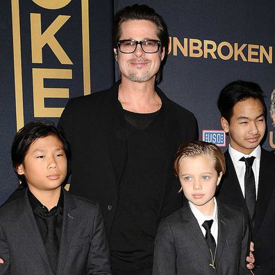 "Actor Brad Pitt, Pax Thien Jolie-Pitt, Shiloh Nouvel Jolie-Pitt and Maddox Jolie-Pitt attend the premiere of ""Unbroken""."