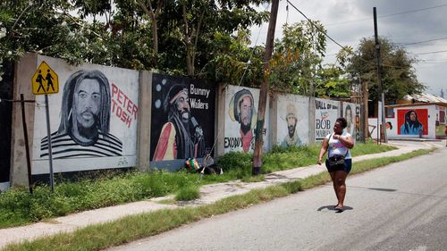 A mural of murdered reggae star Peter Tosh in Jamaica's capital of Kingston.