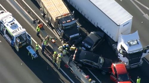 A woman was trapped for around an hour before being freed by emergency crews. (9NEWS)