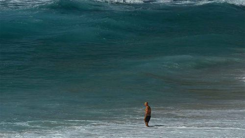 A lone swimmer at Bronte Beach in Sydney during the COVID-19 lockdown.
