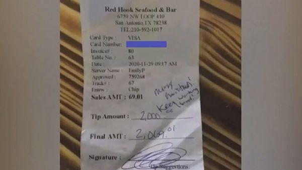 Row over waitress' $2600 tip