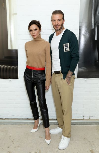 <p><strong>Preppy Chic</strong></p> <p>Victoria and David Beckham at the Kent &amp; Curwen Spring/Summer '18 show on June 11, 2017 in London.</p>