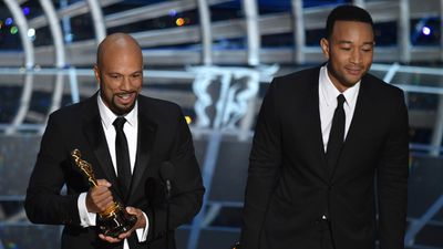 <b>Best Original Song in a Feature Film:</b><br><br>Common and John Legend accept the award for the song 'Glory' from 'Selma'. (AAP)