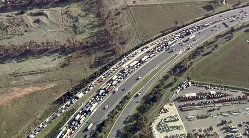 Traffic was backed up for kilometres following the fatal crash.